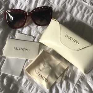 Valentino  Maroon golden Studded Sunglasses NWOT